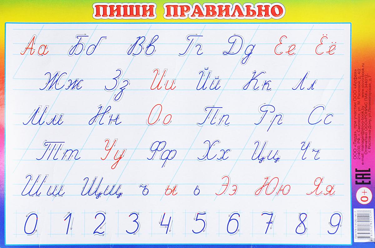 Алфея Обучающий плакат малый Пиши правильно