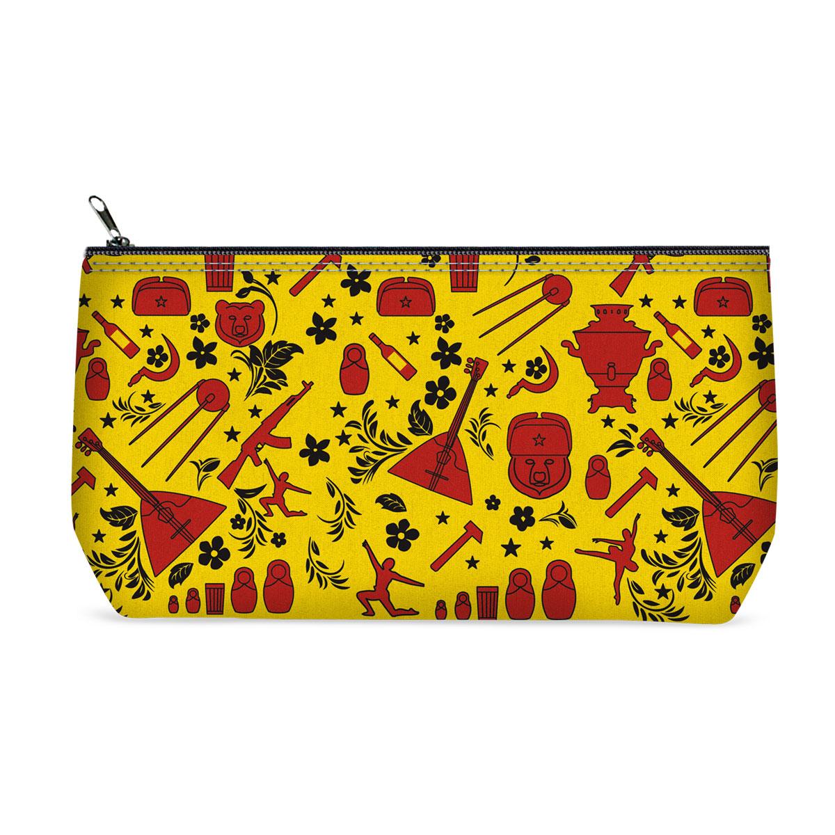 Косметичка ОРЗ-дизайн Russsian, цвет: желтый, черный, красный. Орз-0372Орз-0372Косметичка Russsian - оригинальный и стильный аксессуар, который придется по душе истинным модникам и поклонникам интересного и необычного дизайна. Качественная сумочка выполнена из прочного текстиля, который надежно защитит ваши вещи от пыли и влаги, и оформлена оригинальным принтом с российской атрибутикой. Рисунок нанесён специальным образом и защищён от стирания. Изделие идеально подходит для хранения косметики, таблеток, украшений, ключей, зарядных устройств, мобильного телефона или документов. Простая, но в то же время стильная косметичка определенно выделит своего обладателя из толпы и непременно поднимет настроение. А яркий современный дизайн, который является основной фишкой данной модели, будет радовать глаз.