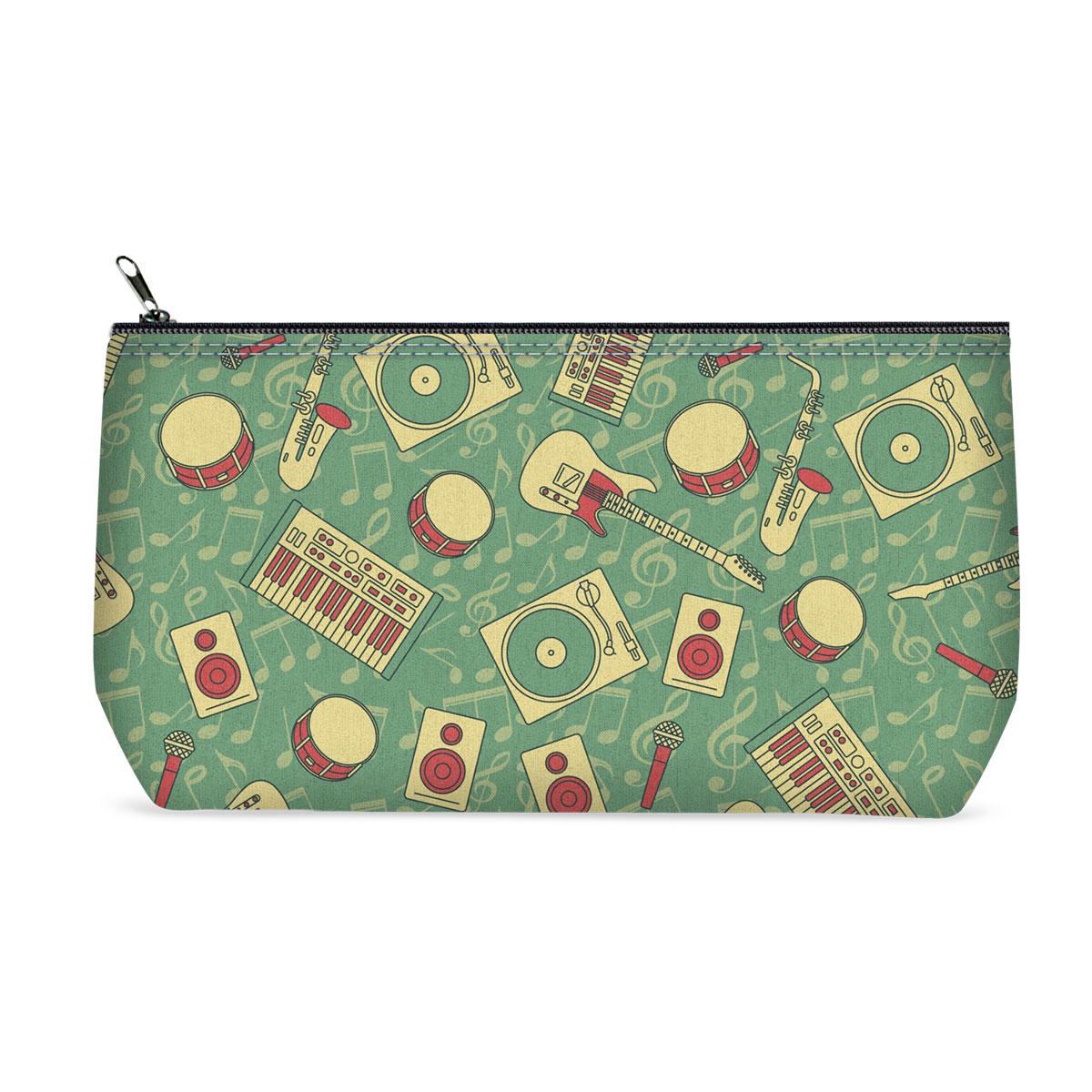 Косметичка ОРЗ-дизайн Музыкант, цвет: мятный, бежевый. Орз-0363Орз-0363Косметичка Музыкант - оригинальный и стильный аксессуар, который придется по душе истинным модникам и поклонникам интересного и необычного дизайна. Качественная сумочка выполнена из прочного текстиля, который надежно защитит ваши вещи от пыли и влаги, и оформлена оригинальным принтом с музыкальными инструментами. Рисунок нанесён специальным образом и защищён от стирания. Изделие идеально подходит для хранения косметики, таблеток, украшений, ключей, зарядных устройств, мобильного телефона или документов. Простая, но в то же время стильная косметичка определенно выделит своего обладателя из толпы и непременно поднимет настроение. А яркий современный дизайн, который является основной фишкой данной модели, будет радовать глаз.