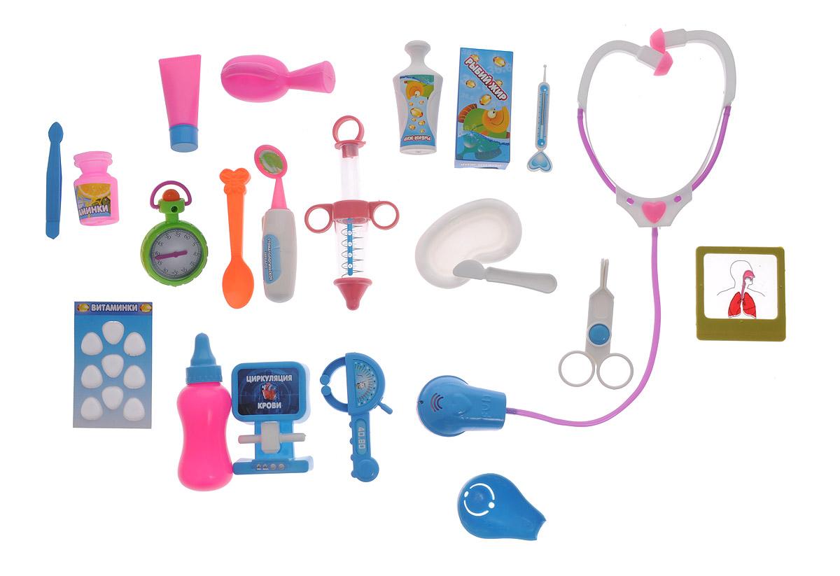ABtoys Игрушечный набор Маленький доктор PT-00293PT-00293Игрушечный набор ABtoys Маленький доктор поможет ребятишкам устраивать веселые сюжетно-ролевые игры, в которых они почувствуют себя настоящими врачами. Играя в больницу, выполняя роли докторов, медсестер и пациентов, дети учатся заботиться, ухаживать за больными, узнают простейшие основы медицины, учатся общаться, развивают свой кругозор и словарный запас, обмениваются опытом и знаниями. В набор входят стетоскоп, рентгеновский снимок, рентгеновский аппарат, различные витамины, секундомер и многое другое. Порадуйте своего ребенка таким увлекательным подарком!