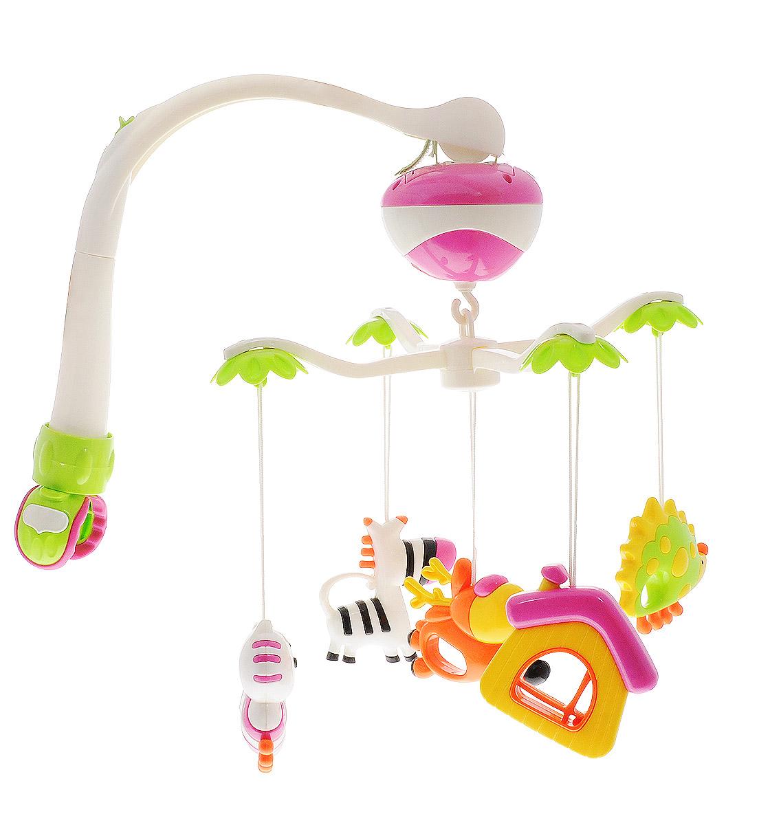 Maman Мобиль Музыкальная карусель с погремушками Зебра олень домик13015_зебра, ёжикМобиль Maman Музыкальная карусель с универсальным креплением устанавливается на кроватку, коляску или манеж. Мобиль проигрывает 12 колыбельных мелодий. Имеются два режима работы: вращение карусели с последовательным проигрыванием 12 мелодий; возможность отключения мелодии при вращении карусели. Мобиль дополнен пятью яркими погремушками на текстильных шнурках. Погремушки можно снять и играть с ними отдельно. Каждая погремушка имеет удобное для детских ручек отверстие. Мобиль позволяет занимать внимание ребенка в течение продолжительного времени. Малыш будет с интересом слушать мелодии и наблюдать за вращением игрушек. Такой мобиль доставит удовольствие вашей крохе и обогатит его новыми впечатлениями. Мобиль Maman Музыкальная карусель способствует развитию у ребенка восприятия цвета, движения и звука. Для работы мобиля необходимо 3 батарейки типа АА (не входят в комплект). Лепестки в ассортименте.
