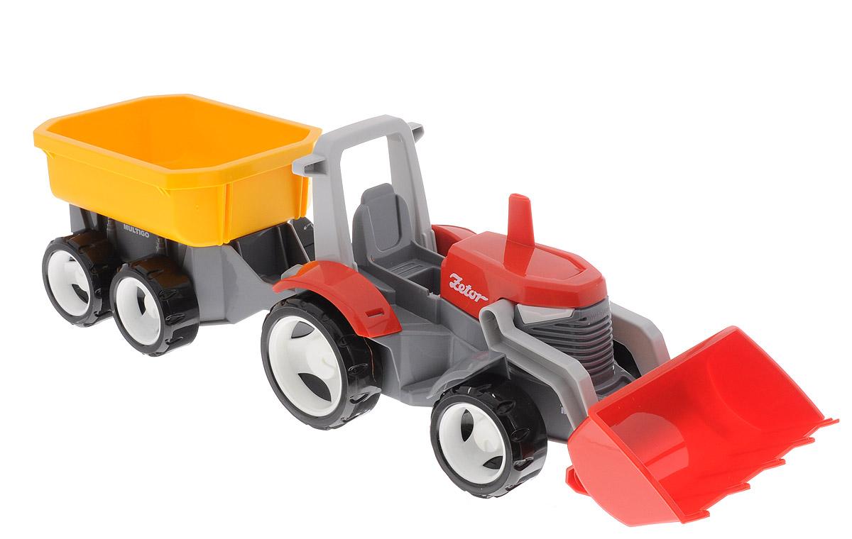 MultiGo Трактор с прицепом и сменным кузовом27055Трактор MultiGo со съемным ковшом и универсальным прицепом - мечта всех маленьких фермеров. Выполненный из качественного пластика, трактор оснащен поднимающимся ковшом, который легко можно снять. Капот открывается, колеса свободно вращаются. В комплекте с трактором идет четырехколесный прицеп со сменным кузовом. В кабину можно посадить фигурку человечка MultiGo (приобретается отдельно). Специальная система MultiGo позволяет детям легко менять и добавлять различные игровые аксессуары. Одна игрушка легко преобразуется в другую. Основание прицепа является базой, на которую могут крепиться различные игровые элементы.
