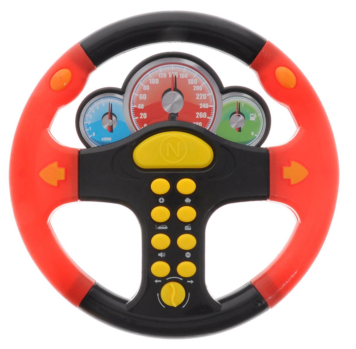 ABtoys Игрушечный музыкальный руль цвет черный красныйPT-00419_черный красныйИгрушечный музыкальный руль ABtoys со световыми и звуковыми эффектами не оставит равнодушным вашего юного автолюбителя. Теперь ваш ребенок сможет фантазировать и представлять себя водителем в любом месте: и дома, сидя на стуле, и на заднем сиденье автомобиля во время поездки. Руль выполнен из безопасного для ребенка материала. При нажатии на кнопочки воспроизводятся разные звуки. Порадуйте свое драгоценное чадо столь интересным, занимательным и развлекательным подарком. Необходимо купить 3 батарейки типа АА (не входят в комплект).
