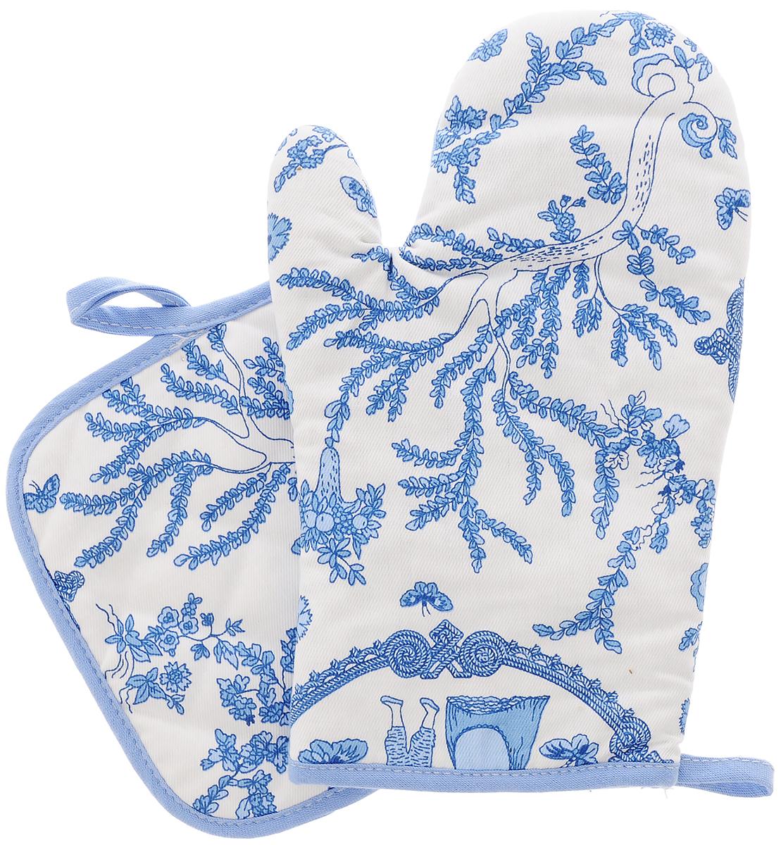 Набор кухонного текстиля Bonita Жуи, цвет: белый, голубой, 2 предмета11010815725Набор кухонного текстиля Bonita Жуи состоит из, прихватки и рукавицы для горячего. Изделия выполнены из 100% хлопка. Квадратная прихватка и рукавица служат для защиты рук от горячей посуды. Они снабжены петельками для подвешивания на крючок. Такой набор прекрасно подойдет для кухни, яркая расцветка и качество исполнения сделают его желанным подарком для любой хозяйки. Размер рукавицы: 15,5 х 26,5 см. Размер прихватки: 17,5 х 17,5 см.