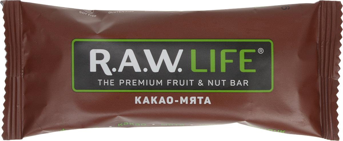 RAWLife Какао-мята батончик орехово-фруктовый, 47 г00009Энергетический микс от RAWLife из натуральных какао и мяты не повышает, а нормализует артериальное давление, оптимизирует кровоток мозга и улучшает краткосрочную память. А финики, фундук и кешью, входящие в его состав, делают вкус батончика абсолютно восхитительным!