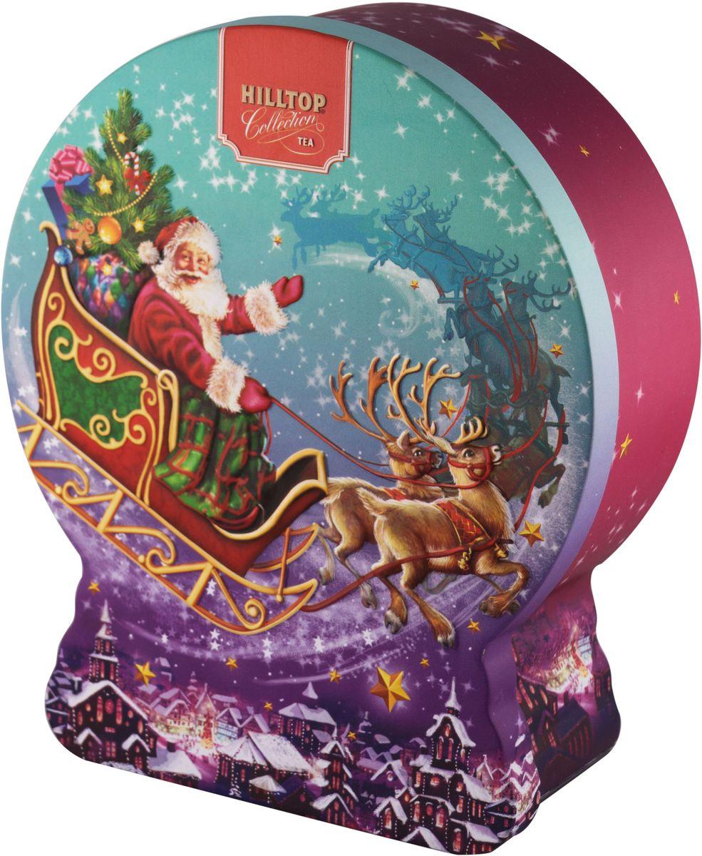 Hilltop Снежный шар Волшебные сани Черный лист черный листовой чай, 100 г4607099307018Hilltop Черный лист - особо крупнолистовой цейлонский черный чай с насыщенным ароматом и терпким послевкусием. Поставляется в подарочной металлической упаковке в форме снежного шара. Отлично подойдет в качестве подарка на новогодние праздники.
