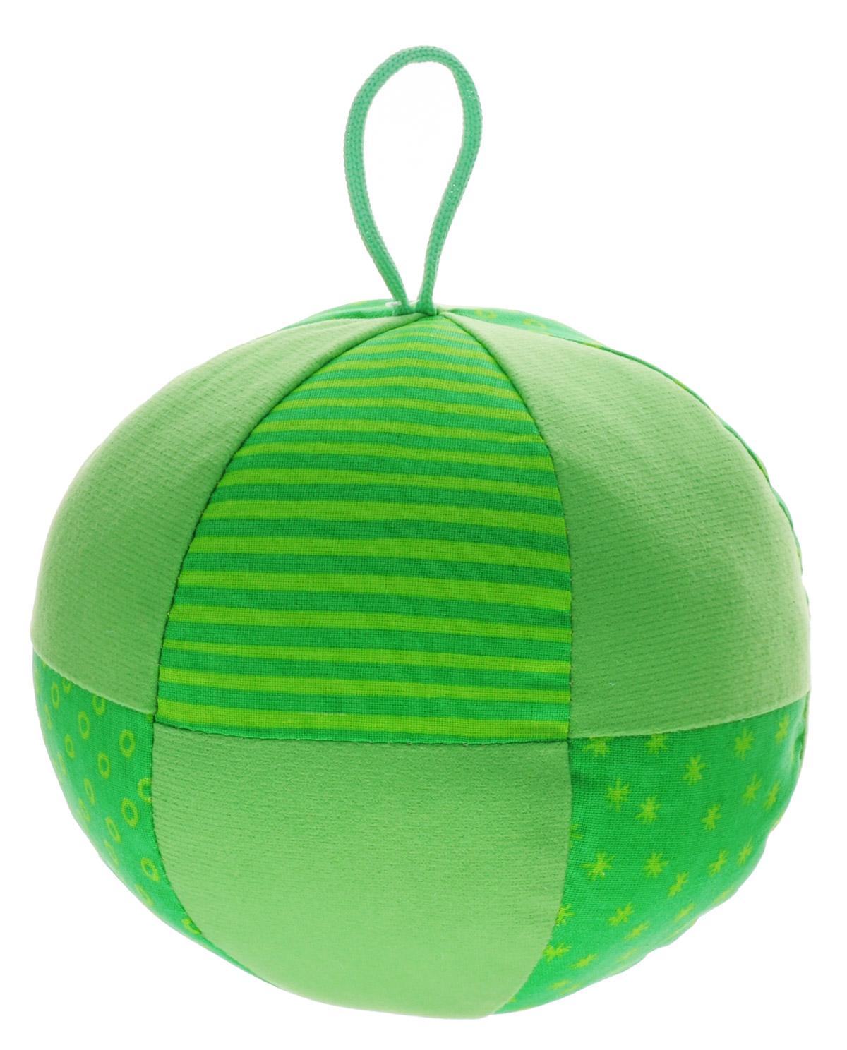 Мякиши Развивающая игрушка Веселый мячик цвет зеленый342_зеленыйЯркая развивающая игрушка Мякиши Весёлый мячик с погремушкой и петелькой для захвата изготовлена из разнофактурных тканей. Отлично подходит для развития мелкой и крупной моторики и слуха малыша. Удобный размер для обеих рук ребенка. Внутри спрятана погремушка с приятным звуком зёрнышек и мягкий наполнитель. Хлопковые и трикотажные ткани различной текстуры прекрасно стимулируют тактильную чувствительность.