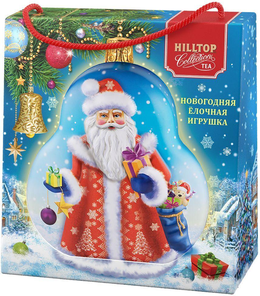 Hilltop Елочная игрушка Дед Мороз Цейлонское утро черный листовой чай, 50 г (в футляре)4607099307162Hilltop Цейлонское Утро - чёрный чай с мягким ароматом и терпко-сладким вкусом. Поставляется в подарочной упаковке в форме елочной игрушки. Отлично подойдет в качестве подарка на новогодние праздники.