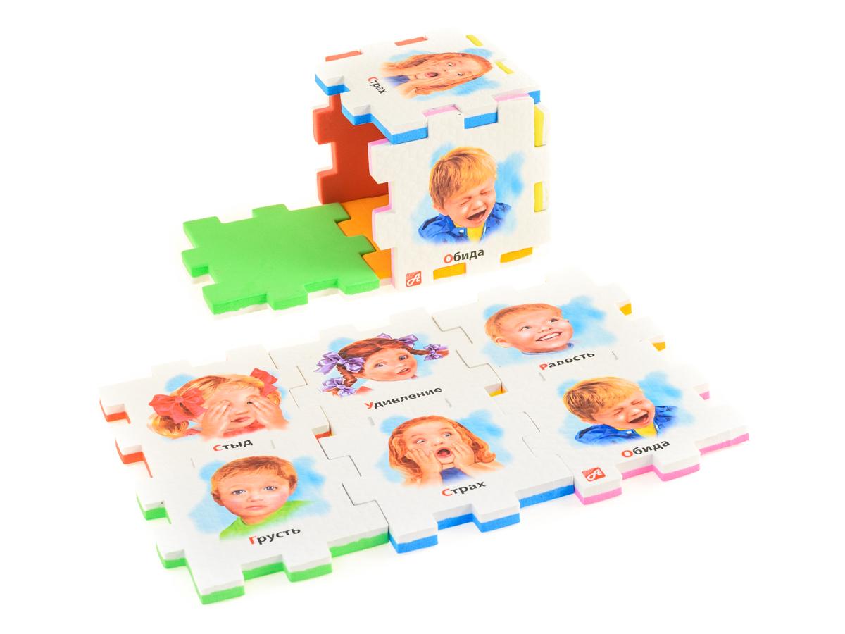 Нескучный кубик Пазл для малышей Эмоции282342Развивающее пособие-игрушка призвано в легкой игровой форме помочь ребенку познакомиться с окружающим миром, изучить цвета, формы, развить логическое и ассоциативное мышление. Из деталей кубика можно конструировать не только кубик из 6 элементов! Попробуйте собрать форму побольше — из 10-12 деталей, либо кубик из 24 деталей, у которого каждая сторона будет состоять из 4-х картинок-элементов. Либо вы можете сложить с ребенком необычный коврик из деталей кубика. Позвольте ребенку поиграть самому — он сможет сконструировать разные формы и фигуры, которые подскажет ему его воображение. С детьми постарше можно заниматься изучением иностранных языков в игровой форме.