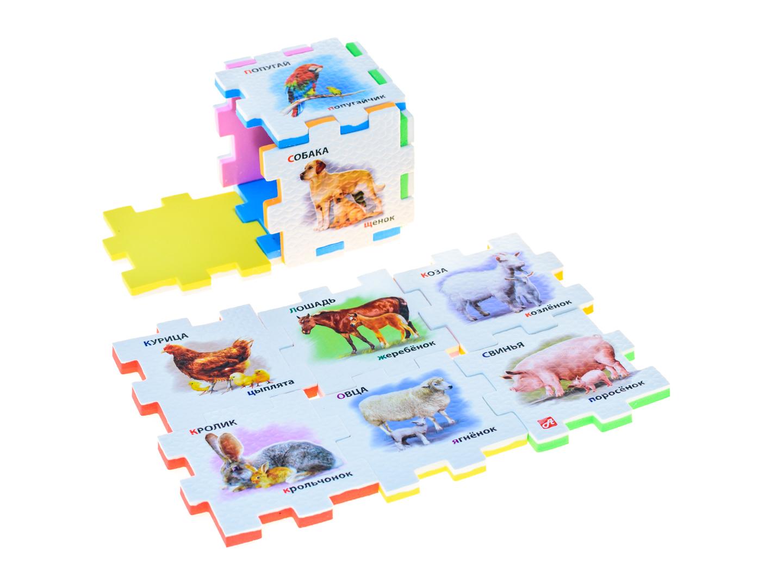 Нескучный кубик Пазл для малышей Домашние животные282343Развивающее пособие-игрушка призвано в легкой игровой форме помочь ребенку познакомиться с окружающим миром, изучить цвета, формы, развить логическое и ассоциативное мышление. Из деталей кубика можно конструировать не только кубик из 6 элементов! Попробуйте собрать форму побольше — из 10-12 деталей, либо кубик из 24 деталей, у которого каждая сторона будет состоять из 4-х картинок-элементов. Либо вы можете сложить с ребенком необычный коврик из деталей кубика. Позвольте ребенку поиграть самому — он сможет сконструировать разные формы и фигуры, которые подскажет ему его воображение. С детьми постарше можно заниматься изучением иностранных языков в игровой форме.