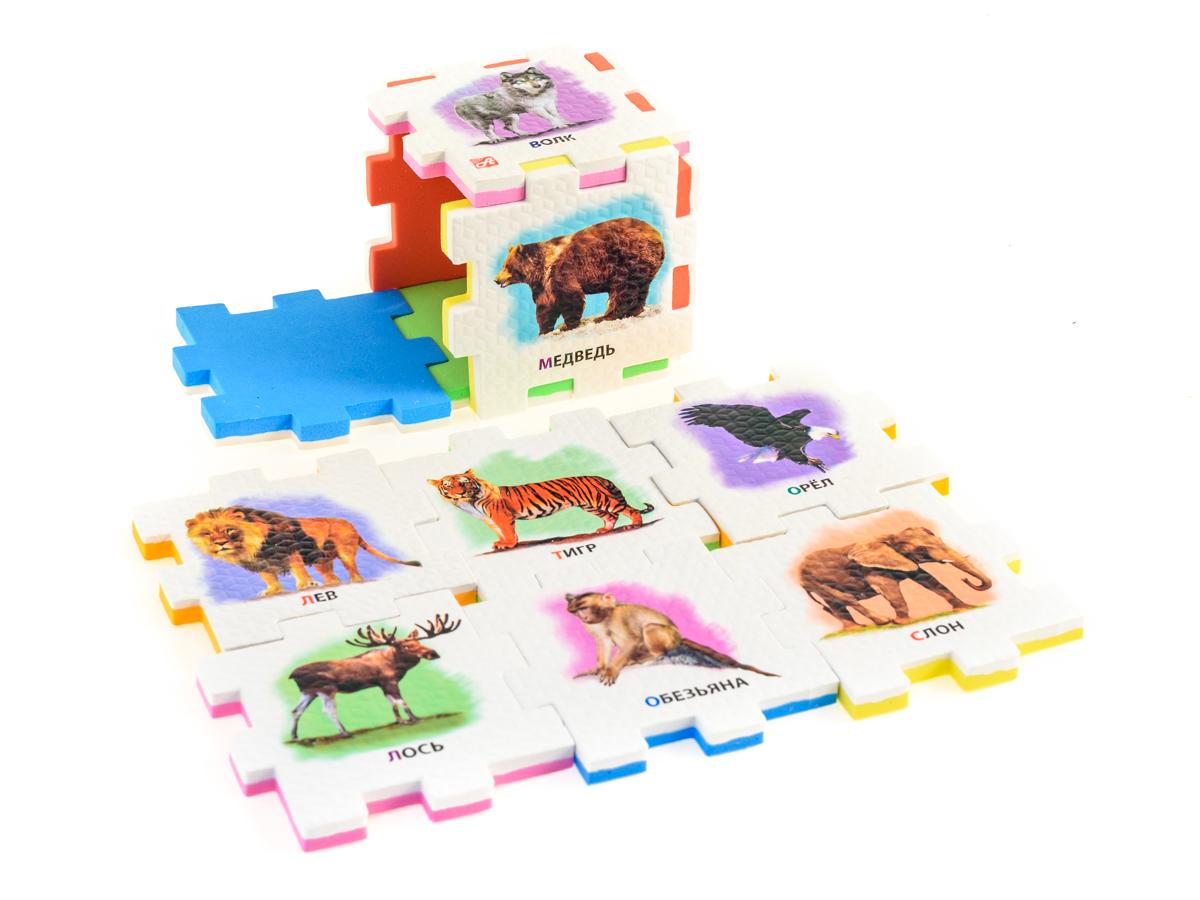 Нескучный кубик Пазл для малышей Дикие животные282344Развивающее пособие-игрушка призвано в легкой игровой форме помочь ребенку познакомиться с окружающим миром, изучить цвета, формы, развить логическое и ассоциативное мышление. Из деталей кубика можно конструировать не только кубик из 6 элементов! Попробуйте собрать форму побольше — из 10-12 деталей, либо кубик из 24 деталей, у которого каждая сторона будет состоять из 4-х картинок-элементов. Либо вы можете сложить с ребенком необычный коврик из деталей кубика. Позвольте ребенку поиграть самому — он сможет сконструировать разные формы и фигуры, которые подскажет ему его воображение. С детьми постарше можно заниматься изучением иностранных языков в игровой форме.