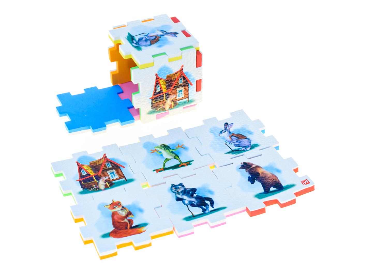 Нескучный кубик Пазл для малышей Теремок282346Развивающее пособие-игрушка призвано в легкой игровой форме помочь ребенку познакомиться с окружающим миром, изучить цвета, формы, развить логическое и ассоциативное мышление. Из деталей кубика можно конструировать не только кубик из 6 элементов! Попробуйте собрать форму побольше — из 10-12 деталей, либо кубик из 24 деталей, у которого каждая сторона будет состоять из 4-х картинок-элементов. Либо вы можете сложить с ребенком необычный коврик из деталей кубика. Кубики «Сказки» можно использовать как наглядное пособие для сказочных игр с ребенком, например как демонстрационный материал, выкладывая героев в соответствующей последовательности. В дальнейшем ребенок самостоятельно будет играть с любимыми героями, рассказывать сказки и устраивать представления, развивая воображение и устную речь.