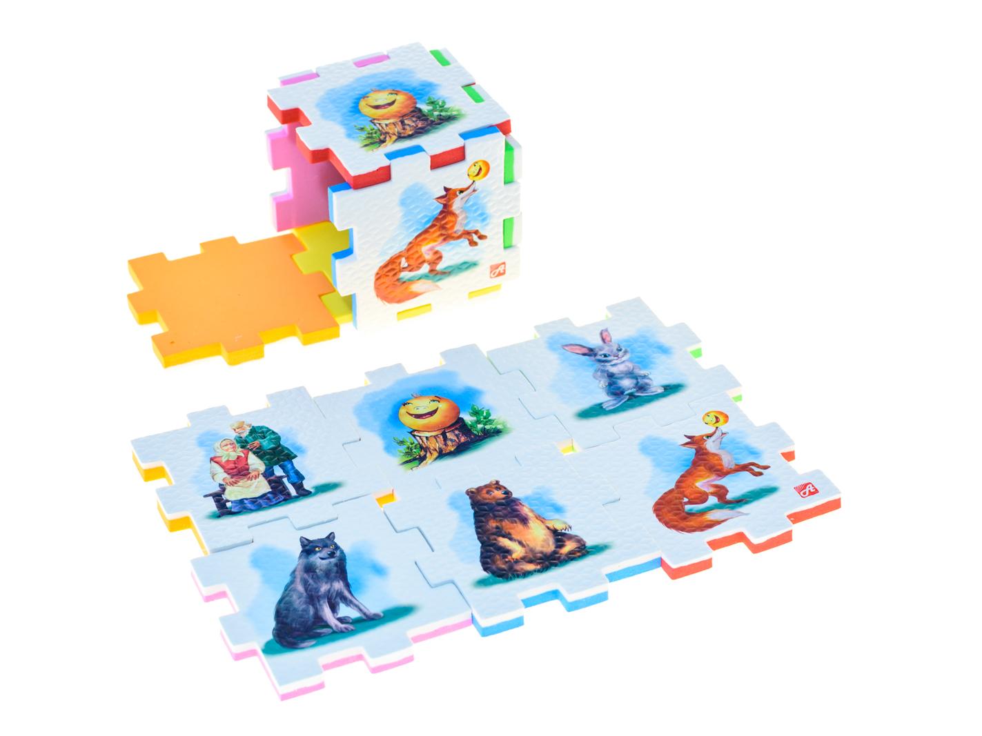 Нескучный кубик Пазл для малышей Колобок282351Развивающее пособие-игрушка призвано в легкой игровой форме помочь ребенку познакомиться с окружающим миром, изучить цвета, формы, развить логическое и ассоциативное мышление. Из деталей кубика можно конструировать не только кубик из 6 элементов! Попробуйте собрать форму побольше — из 10-12 деталей, либо кубик из 24 деталей, у которого каждая сторона будет состоять из 4-х картинок-элементов. Либо вы можете сложить с ребенком необычный коврик из деталей кубика. Кубики «Сказки» можно использовать как наглядное пособие для сказочных игр с ребенком, например как демонстрационный материал, выкладывая героев в соответствующей последовательности. В дальнейшем ребенок самостоятельно будет играть с любимыми героями, рассказывать сказки и устраивать представления, развивая воображение и устную речь.