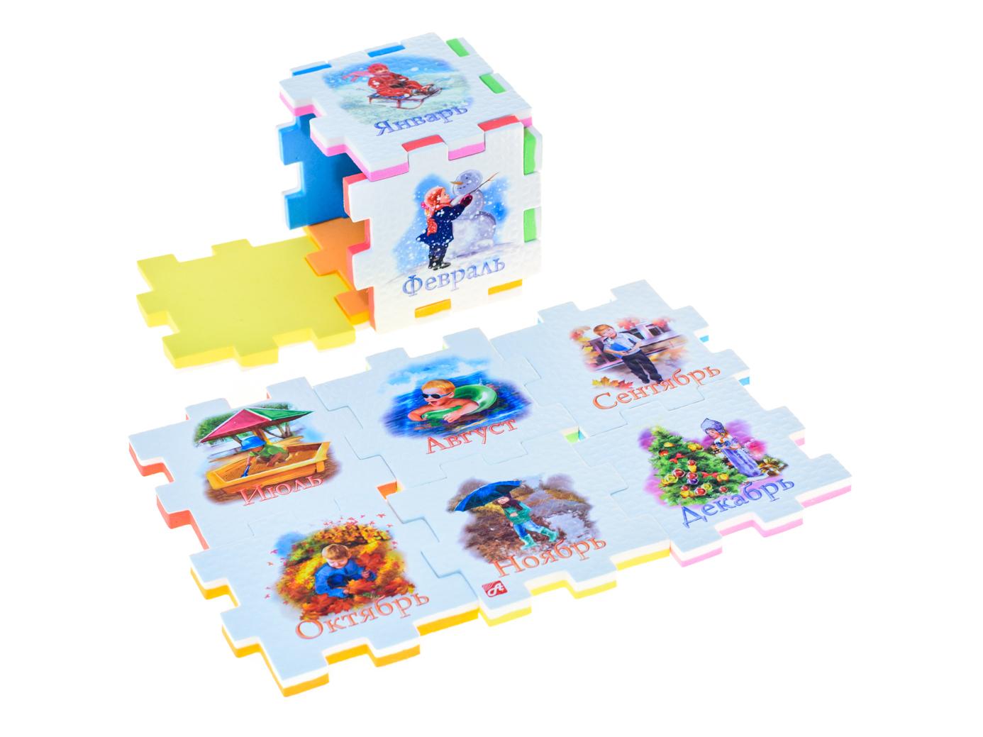 Нескучный кубик Пазл для малышей 12 месяцев282353Развивающее пособие-игрушка призвано в легкой игровой форме помочь ребенку познакомиться с окружающим миром, изучить цвета, формы, развить логическое и ассоциативное мышление. Из деталей кубика можно конструировать не только кубик из 6 элементов! Попробуйте собрать форму побольше — из 10-12 деталей, либо кубик из 24 деталей, у которого каждая сторона будет состоять из 4-х картинок-элементов. Либо вы можете сложить с ребенком необычный коврик из деталей кубика. Позвольте ребенку поиграть самому — он сможет сконструировать разные формы и фигуры, которые подскажет ему его воображение. С детьми постарше можно заниматься изучением иностранных языков в игровой форме.