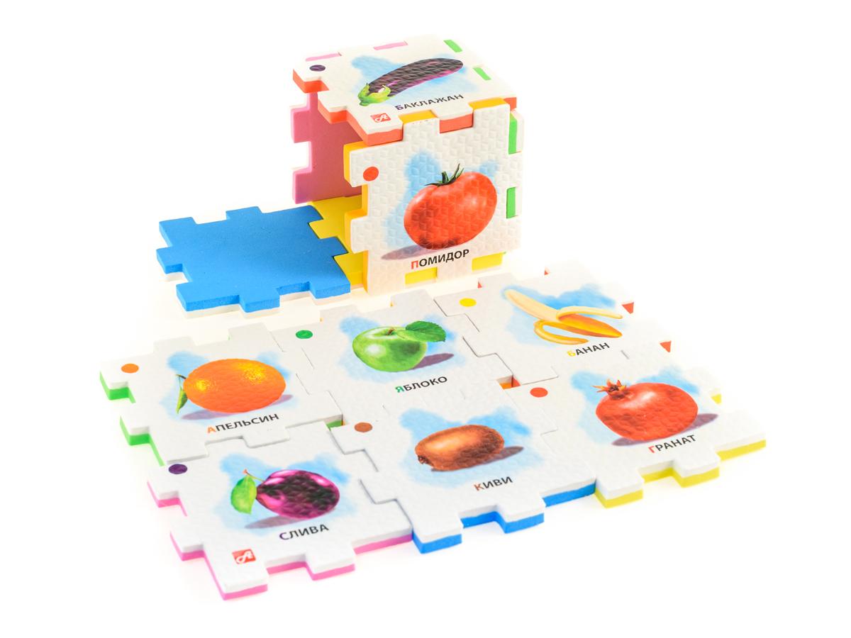 Нескучный кубик Пазл для малышей Цветные ассоциации282356Развивающее пособие-игрушка призвано в легкой игровой форме помочь ребенку познакомиться с окружающим миром, изучить цвета, формы, развить логическое и ассоциативное мышление. Из деталей кубика можно конструировать не только кубик из 6 элементов! Попробуйте собрать форму побольше — из 10-12 деталей, либо кубик из 24 деталей, у которого каждая сторона будет состоять из 4-х картинок-элементов. Либо вы можете сложить с ребенком необычный коврик из деталей кубика. Кубики «Ассоциации. Цвета» помогут ребенку научиться отделять предметы по цветам: оранжевый (морковь и апельсин), зеленый (огурец и зеленое яблоко), красный (помидор и гранат), желтый (перец и банан), темно-фиолетовый (баклажан и слива), коричневый (картофель и киви).