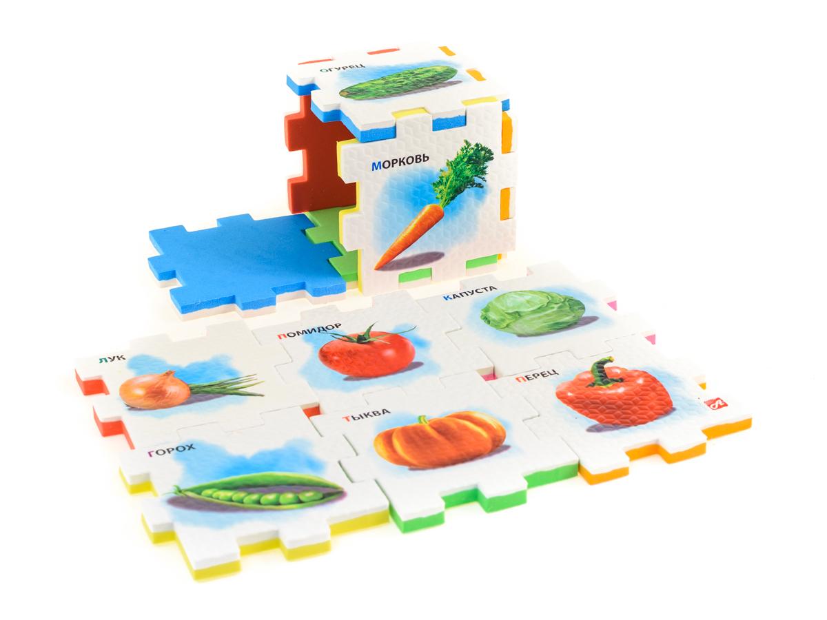 Нескучный кубик Пазл для малышей Овощи282357Развивающее пособие-игрушка призвано в легкой игровой форме помочь ребенку познакомиться с окружающим миром, изучить цвета, формы, развить логическое и ассоциативное мышление. Из деталей кубика можно конструировать не только кубик из 6 элементов! Попробуйте собрать форму побольше — из 10-12 деталей, либо кубик из 24 деталей, у которого каждая сторона будет состоять из 4-х картинок-элементов. Либо вы можете сложить с ребенком необычный коврик из деталей кубика. Позвольте ребенку поиграть самому — он сможет сконструировать разные формы и фигуры, которые подскажет ему его воображение.С детьми постарше можно заниматься изучением иностранных языков в игровой форме.