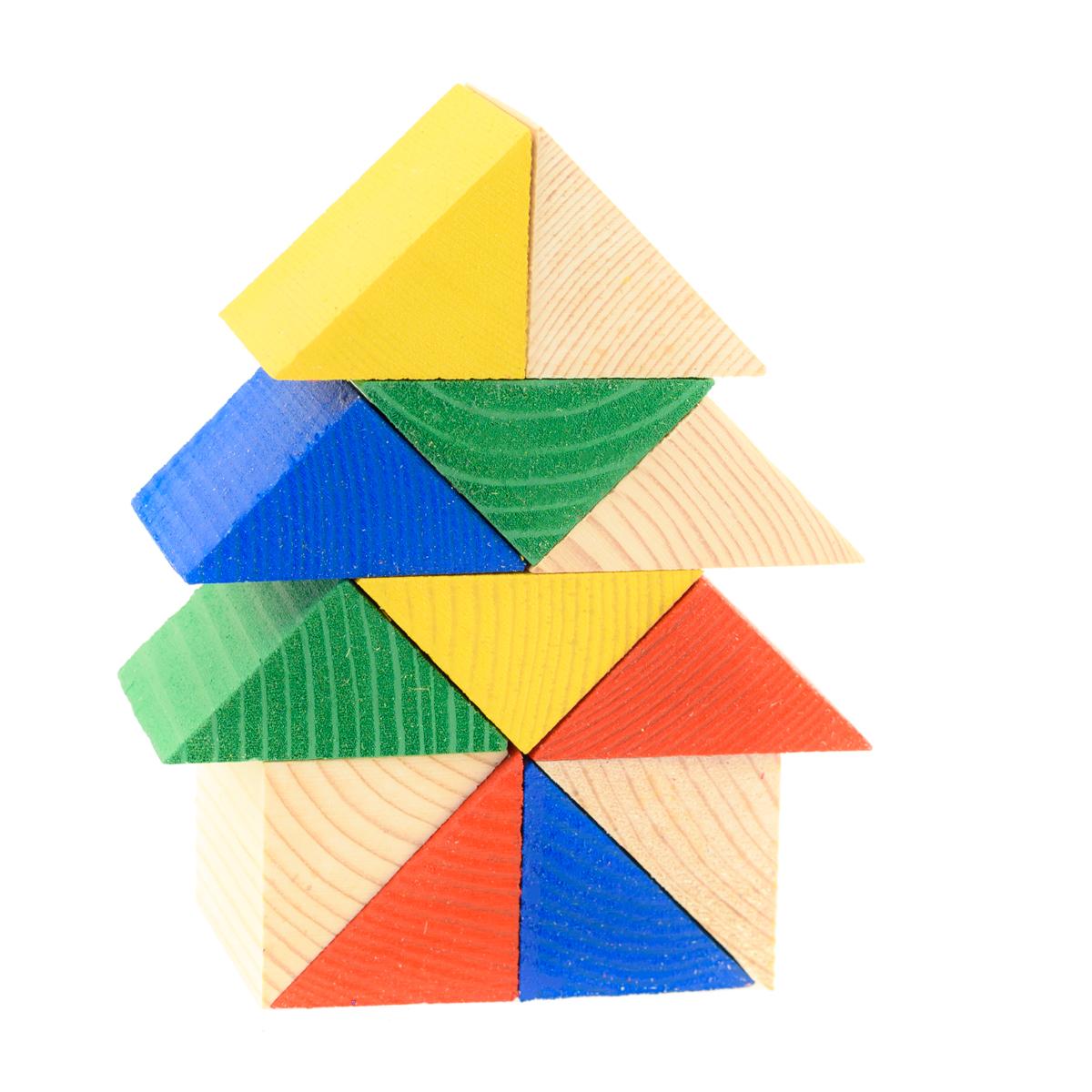 Развивающие деревянные игрушки Конструктор ТреугольникиД151бНабор «12 треугольников» - развивающая мини-игра, выполненная из натурального дерева. При помощи данного набора ребёнок познакомится с волшебным миром треугольников, научится складывать фигуры, предметы и конструкции из треугольников. Набор поможет ребенку развить пространственное мышление, воображение, логику, моторику, познакомит ребенка с такими понятиями как доли, «часть-целое». Использование в производстве данного набора натурального отечественного дерева мягких пород в сочетании с минимумом обаботки позволило максимально сохранить ощущение фактуры дерева и его аромата. Элементы набора также можно использовать в качестве счетного материала, для изучения основных цветов.