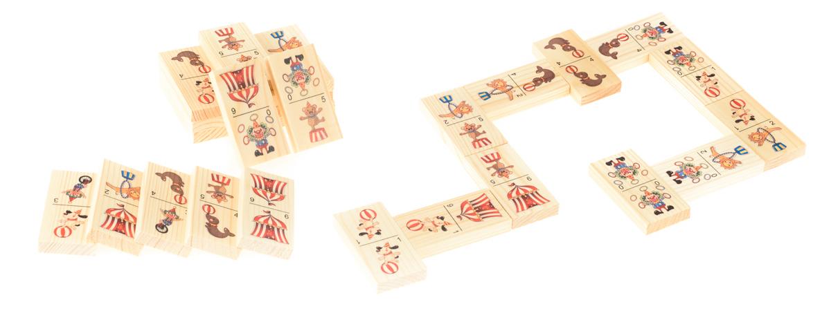 Развивающие деревянные игрушки Домино ЦиркД201аБОЛЬШОЕ ДОМИНО для детей — отличная разивающая игрушка из экологичного материала — натурального дерева, которую мы производим в России. Фишки большого размера — 10х35х70 мм — прекрасно подойдут даже для самых маленьких игроков. Малышу удобно держать такую фишку. Рисунки на ней — яркие и большие. С этой игрушкой можно играть не только дома, но и эффективно использовать для занятий в детском саду. Играя, ребёнок развивает целый спектр навыков: моторику, логику, воображение, а также изучает окружающий мир, счёт, арифметику и цвета.