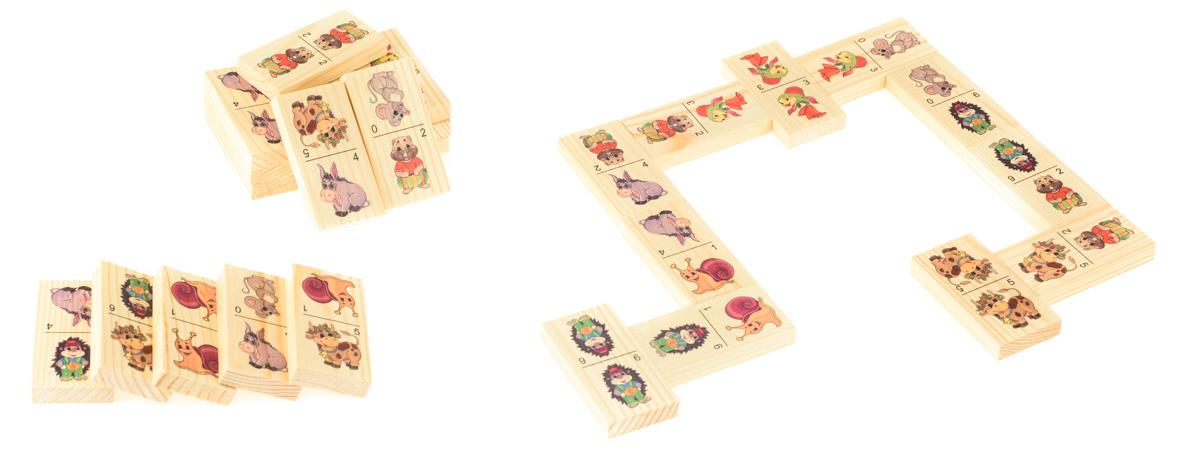 Развивающие деревянные игрушки Домино Животные Д203аД203аБОЛЬШОЕ ДОМИНО для детей — отличная разивающая игрушка из экологичного материала — натурального дерева, которую мы производим в России. Фишки большого размера — 10х35х70 мм — прекрасно подойдут даже для самых маленьких игроков. Малышу удобно держать такую фишку. Рисунки на ней — яркие и большие. С этой игрушкой можно играть не только дома, но и эффективно использовать для занятий в детском саду. Играя, ребёнок развивает целый спектр навыков: моторику, логику, воображение, а также изучает окружающий мир, счёт, арифметику и цвета.