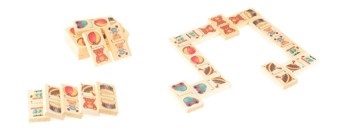 Развивающие деревянные игрушки Домино Игрушки-1Д204аБОЛЬШОЕ ДОМИНО для детей — отличная разивающая игрушка из экологичного материала — натурального дерева, которую мы производим в России. Фишки большого размера — 10х35х70 мм — прекрасно подойдут даже для самых маленьких игроков. Малышу удобно держать такую фишку. Рисунки на ней — яркие и большие. С этой игрушкой можно играть не только дома, но и эффективно использовать для занятий в детском саду. Играя, ребёнок развивает целый спектр навыков: моторику, логику, воображение, а также изучает окружающий мир, счёт, арифметику и цвета.