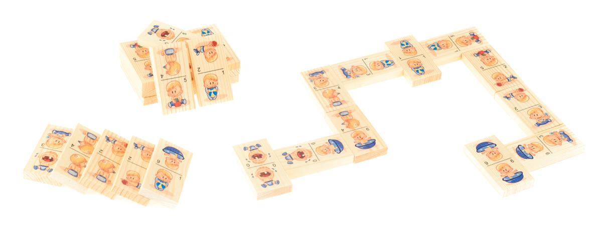Развивающие деревянные игрушки Домино для малышейД206аБОЛЬШОЕ ДОМИНО для детей — отличная разивающая игрушка из экологичного материала — натурального дерева, которую мы производим в России. Фишки большого размера — 10х35х70 мм — прекрасно подойдут даже для самых маленьких игроков. Малышу удобно держать такую фишку. Рисунки на ней — яркие и большие. С этой игрушкой можно играть не только дома, но и эффективно использовать для занятий в детском саду. Играя, ребёнок развивает целый спектр навыков: моторику, логику, воображение, а также изучает окружающий мир, счёт, арифметику и цвета.