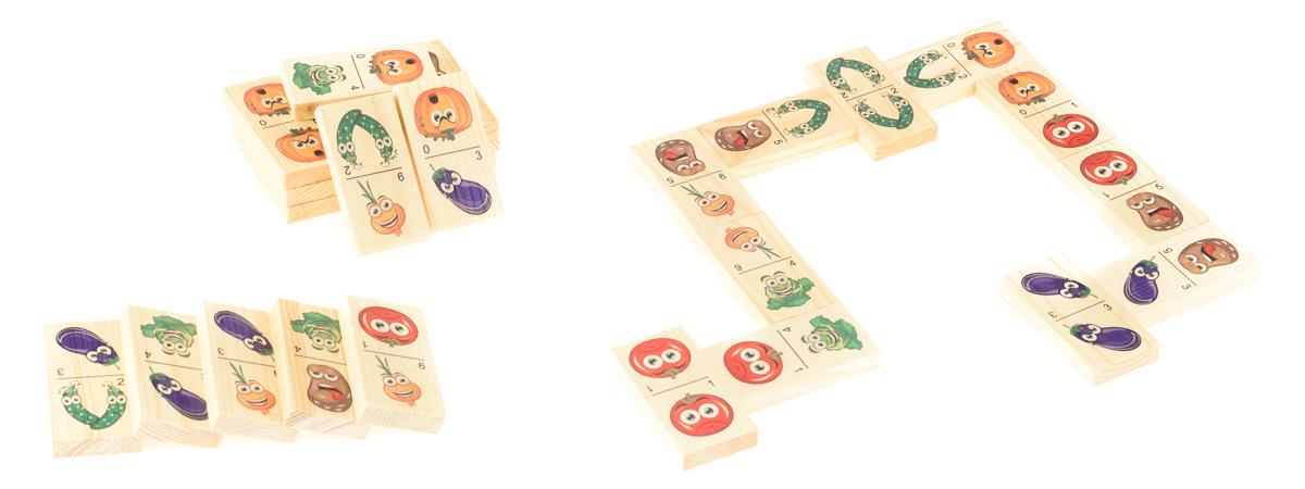 Развивающие деревянные игрушки Домино Мульт-овощиД211аБОЛЬШОЕ ДОМИНО для детей — отличная разивающая игрушка из экологичного материала — натурального дерева, которую мы производим в России. Фишки большого размера — 10х35х70 мм — прекрасно подойдут даже для самых маленьких игроков. Малышу удобно держать такую фишку. Рисунки на ней — яркие и большие. С этой игрушкой можно играть не только дома, но и эффективно использовать для занятий в детском саду. Играя, ребёнок развивает целый спектр навыков: моторику, логику, воображение, а также изучает окружающий мир, счёт, арифметику и цвета.
