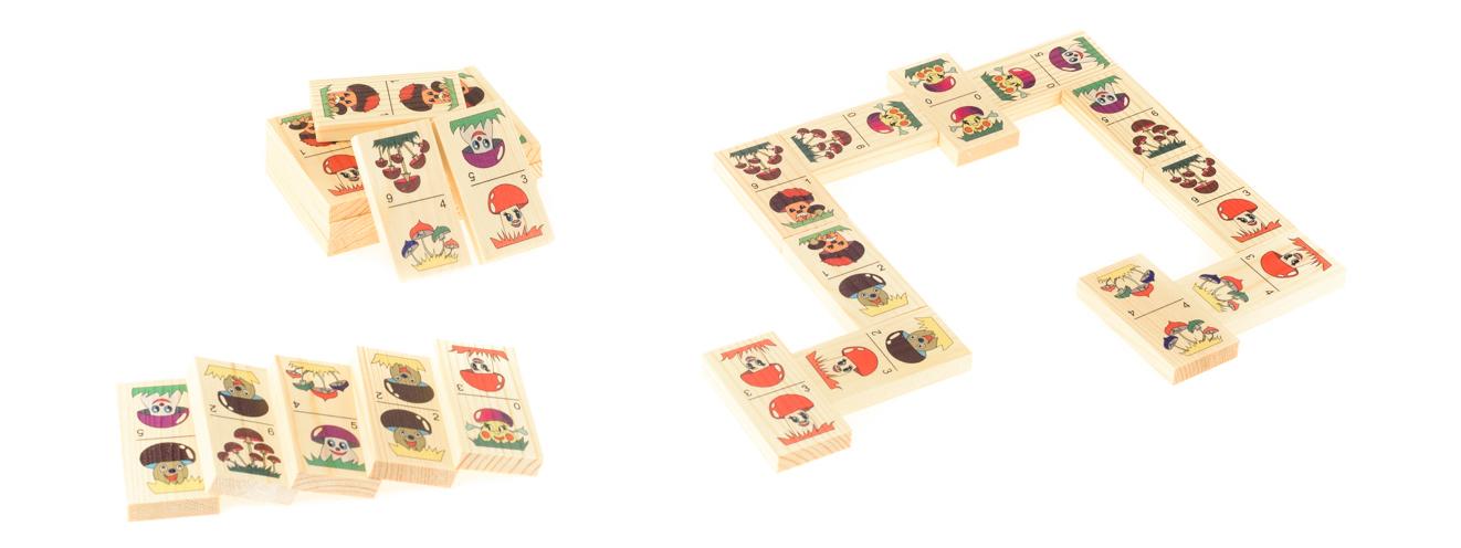 Развивающие деревянные игрушки Домино Веселые грибочкиД214аБОЛЬШОЕ ДОМИНО для детей — отличная разивающая игрушка из экологичного материала — натурального дерева, которую мы производим в России. Фишки большого размера — 10х35х70 мм — прекрасно подойдут даже для самых маленьких игроков. Малышу удобно держать такую фишку. Рисунки на ней — яркие и большие. С этой игрушкой можно играть не только дома, но и эффективно использовать для занятий в детском саду. Играя, ребёнок развивает целый спектр навыков: моторику, логику, воображение, а также изучает окружающий мир, счёт, арифметику и цвета.
