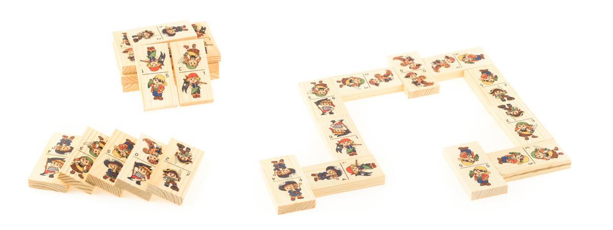 Развивающие деревянные игрушки Домино ПиратыД417аБОЛЬШОЕ ДОМИНО для детей — отличная разивающая игрушка из экологичного материала — натурального дерева, которую мы производим в России. Фишки большого размера — 10х35х70 мм — прекрасно подойдут даже для самых маленьких игроков. Малышу удобно держать такую фишку. Рисунки на ней — яркие и большие. С этой игрушкой можно играть не только дома, но и эффективно использовать для занятий в детском саду. Играя, ребёнок развивает целый спектр навыков: моторику, логику, воображение, а также изучает окружающий мир, счёт, арифметику и цвета.
