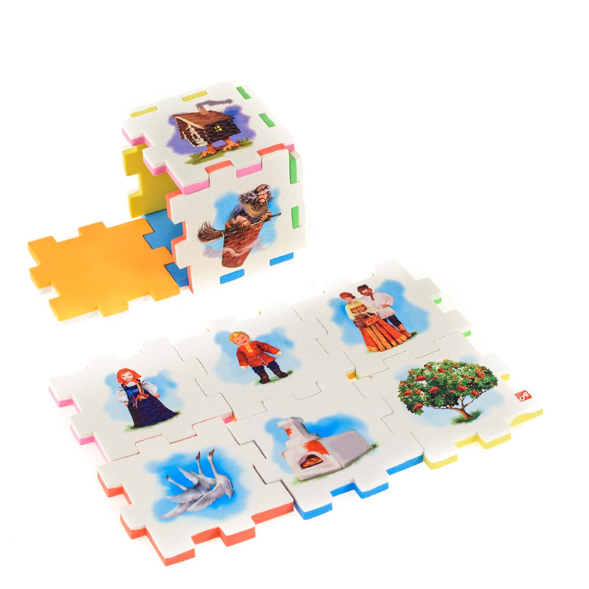 Нескучный кубик Пазл для малышей Гуси-лебеди282378Развивающее пособие-игрушка призвано в легкой игровой форме помочь ребенку познакомиться с окружающим миром, изучить цвета, формы, развить логическое и ассоциативное мышление. Из деталей кубика можно конструировать не только кубик из 6 элементов! Попробуйте собрать форму побольше — из 10-12 деталей, либо кубик из 24 деталей, у которого каждая сторона будет состоять из 4-х картинок-элементов. Либо вы можете сложить с ребенком необычный коврик из деталей кубика. Позвольте ребенку поиграть самому — он сможет сконструировать разные формы и фигуры, которые подскажет ему его воображение. С детьми постарше можно заниматься изучением иностранных языков в игровой форме.