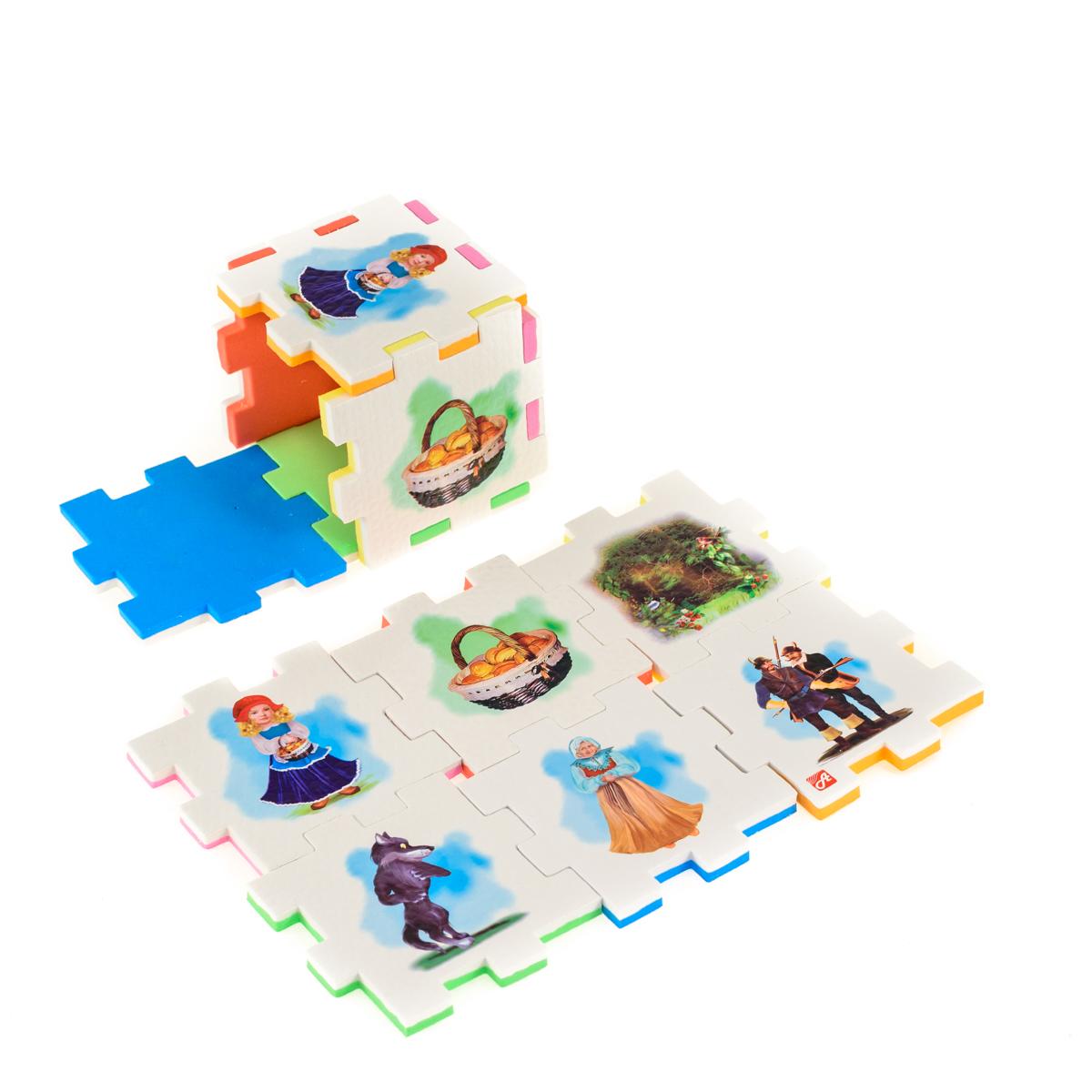 Нескучный кубик Пазл для малышей Красная шапочка282376Развивающее пособие-игрушка призвано в легкой игровой форме помочь ребенку познакомиться с окружающим миром, изучить цвета, формы, развить логическое и ассоциативное мышление. Из деталей кубика можно конструировать не только кубик из 6 элементов! Попробуйте собрать форму побольше — из 10-12 деталей, либо кубик из 24 деталей, у которого каждая сторона будет состоять из 4-х картинок-элементов. Либо вы можете сложить с ребенком необычный коврик из деталей кубика. Кубики «Сказки» можно использовать как наглядное пособие для сказочных игр с ребенком, например как демонстрационный материал, выкладывая героев в соответствующей последовательности. В дальнейшем ребенок самостоятельно будет играть с любимыми героями, рассказывать сказки и устраивать представления, развивая воображение и устную речь.