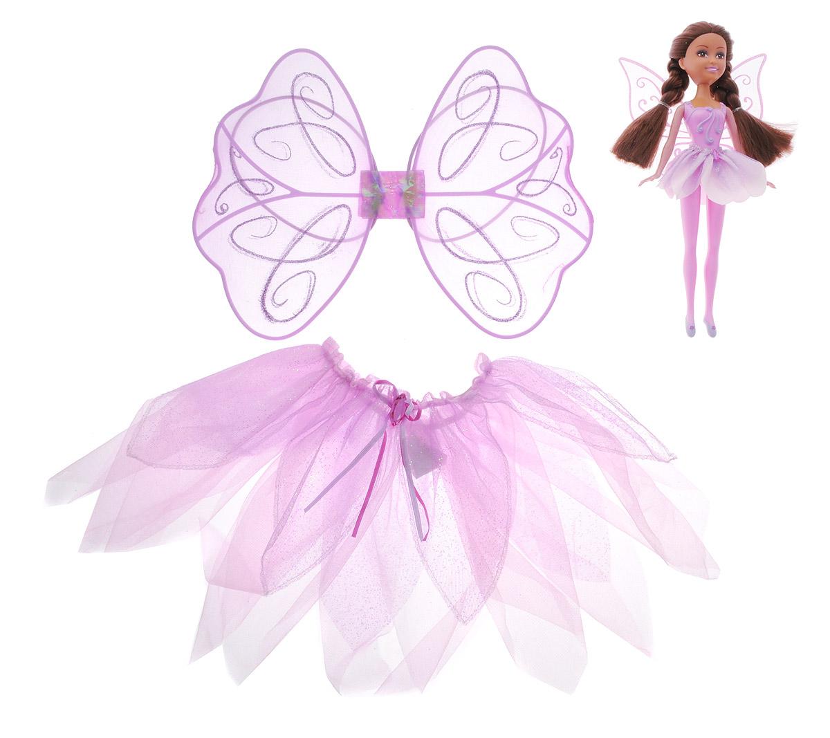 ABtoys Кукла Фея цветов с карнавальным костюмом для девочки7550098_сиреневый, розовый брюнеткаЭтот замечательный набор содержит в себе не только прелестную куколку ABtoys Фея цветов, но и прекрасный карнавальный костюм для вашей девочки! Теперь ваша малышка сможет одеться также, как и ее маленькая подружка, и почувствовать себя настоящей балериной. Куколка выполнена из качественных и безопасных материалов. Ее ручки, ножки и голова подвижны, а волосы можно расчесывать. Костюм состоит из пышной юбочки розово-сиреневого цвета и крылышек. Размер костюма - от 3 до 5 лет.