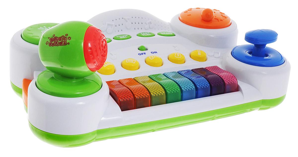 Keenway Синтезатор Piano Mixer31955KWЭтот синтезатор способен открыть весь музыкальный мир ребенку! Малыш получит колоссальное удовольствие от различных звуков, которые раздаются благодаря нажатию клавиш. Синтезатор состоит из клавиатуры с 8 клавишами, над которой расположено 5 кнопок, каждая из которых символизирует отдельный музыкальный инструмент. Кнопки с инструментами позволяют перенастраивать звучание синтезатора. Одним нажатием можно поменять звучание клавиш на звуки саксофона, флейты, ксилофона, гитары или пианино. Чуть выше кнопок с музыкальными инструментами находятся кнопки для различных игр. С помощью них можно включить обычный режим игры, прослушать DEMO музыкального фрагмента, активировать простую игру, в которой ребенку нужно просто нажимать на любые клавиши по его желанию, после чего можно будет прослушать аранжированную мелодию, за которой последуют аплодисменты. А для детей старше предлагается более сложная игра Следуй за мной, где нужно воспроизвести мелодию путем нажатия...