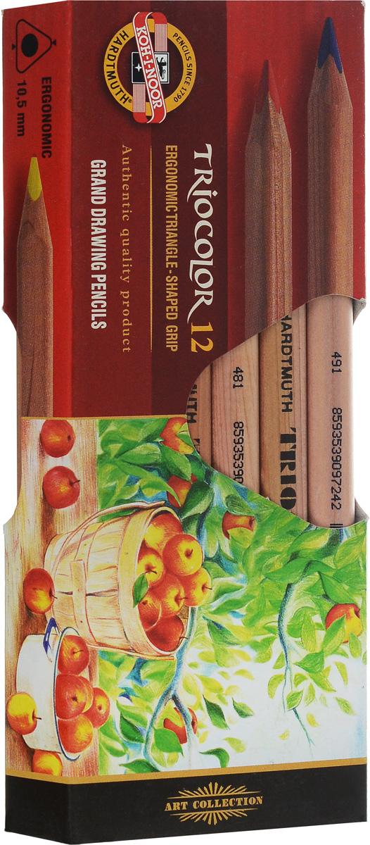 Koh-i-Noor Цветные карандаши Triocolor художественные 12 цветов3152N/12 KS, 3152Цветные художественные карандаши Triocolor непременно, понравятся вашему юному художнику. Набор включает в себя 12 ярких насыщенных цветных карандашей, которые идеально подходят для малышей. Эргономичный трехгранный утолщенный корпус изготовлен из натуральной неокрашенной древесины. Карандаши имеют прочный неломающийся грифель, не требующий сильного нажатия. Карандаши легко затачиваются. Порадуйте своего ребенка таким восхитительным подарком!
