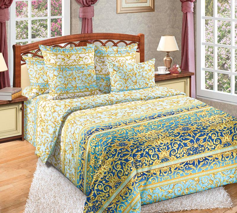Комплект белья Текс-Дизайн Людовик 1, 1,5 спальный, наволочки 70x701250ПЕсли вы хотите купить не только качественный и красивый, но и статусный комплект постельного белья, то обратите внимание на перкалевый набор Людовик 1 с эксклюзивной расцветкой. Поверхность комплекта покрыта эффектными, словно золотыми и по-королевски роскошными вензелями. Орнамент выглядит объемным и буквально завораживает. Перкаль - это тонкая и легкая хлопчатобумажная ткань высокой плотности полотняного переплетения, сотканная из пряжи высоких номеров. При изготовлении перкаля используются длинноволокнистые сорта хлопка, что обеспечивает высокие потребительские свойства материала. Несмотря на свою утонченность, перкаль очень практичен - это одна из самых износостойких тканей для постельного белья.