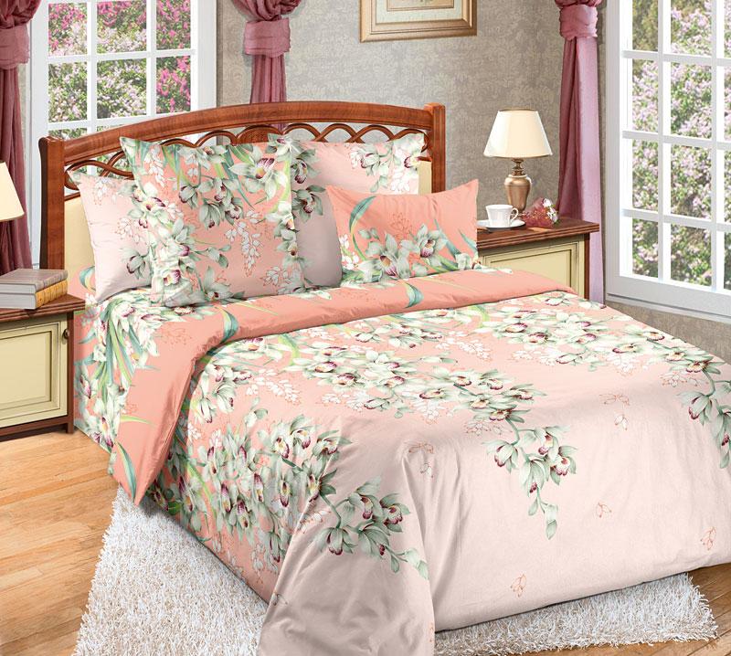 Комплект белья Текс-Дизайн Лиана 1, евро, наволочки 70x704200ППеркалевое постельное белье Лиана - это изящно вьющийся, словно лиана, эксклюзивный цветочный узор. Экзотические цветы, напоминающие орхидеи, очень эффектно, выгодно смотрятся на розовом фоне. Перкаль - это тонкая и легкая хлопчатобумажная ткань высокой плотности полотняного переплетения, сотканная из пряжи высоких номеров. При изготовлении перкаля используются длинноволокнистые сорта хлопка, что обеспечивает высокие потребительские свойства материала. Несмотря на свою утонченность, перкаль очень практичен - это одна из самых износостойких тканей для постельного белья.