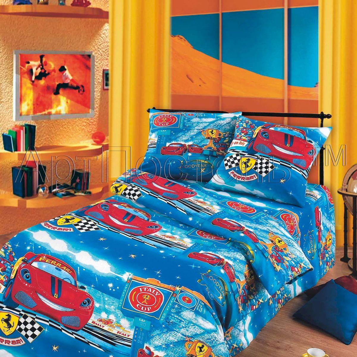 Комплект белья АртПостель Ралли, 1,5 спальный, наволочки 70x70100Комплект постельного белья АртПостель Ралли выполнен из бязи высочайшего качества. Бязь отличается прочностью и стойкостью к многочисленным стиркам. Комплект состоит из пододеяльника, простыни и двух наволочек. Постельное белье с ярким дизайном, имеет изысканный внешний вид. Благодаря такому комплекту постельного белья вы сможете создать атмосферу роскоши и романтики в вашей спальне.