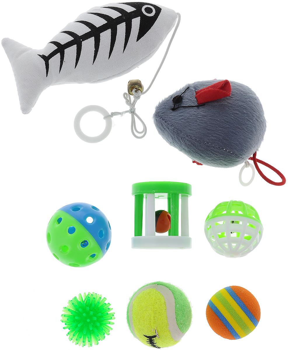 Набор игрушек Pet Fun, для кошек, 8 штYG297428Набор Pet Fun состоит из рыбки, мышки, цилиндра и 5 мячиков. Мышка заводится. С таким забавным набором, маленькие котята будут развиваться физически, а взрослые кошки и коты поддерживать свой мышечный тонус. Яркие игрушки не навредят здоровью животного и увлекут его на долгое время. Такие игрушки хорошо подойдут для кошек, которые любят выпускать при игре когти. Размер мыши: 18 х 6 х 4,5 см. Размер рыбы (без учета шнурка): 12,5 х 6 х 4 см. Диаметр мячей: 4,5 см; 3,5 см; 4,5 см. Размер цилиндра: 4 х 4 х 4,5 см.