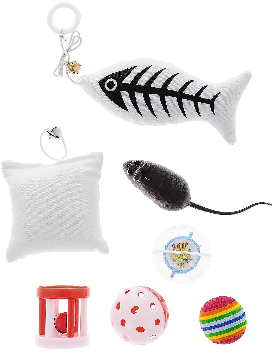Набор игрушек Pet Fun, для кошек, 7 штYG29751Набор Pet Fun состоит из рыбки, подушки, мышки, цилиндра и 3 мячиков. Мышка при нажатии пищит. С таким забавным набором, маленькие котята будут развиваться физически, а взрослые кошки и коты поддерживать свой мышечный тонус. Яркие игрушки не навредят здоровью животного и увлекут его на долгое время. Такие игрушки хорошо подойдут для кошек, которые любят выпускать при игре когти. Размер мышки (с учетом хвоста): 13,5 х 3 х 3 см. Размер рыбки (без учета шнурка): 12,5 х 6 х 4 см. размер подушки: 8 х 8 х 4 см. Диаметр мячей: 4,5 см; 3,5 см; 4,5 см. Размер цилиндра: 4 х 4 х 4,5 см.