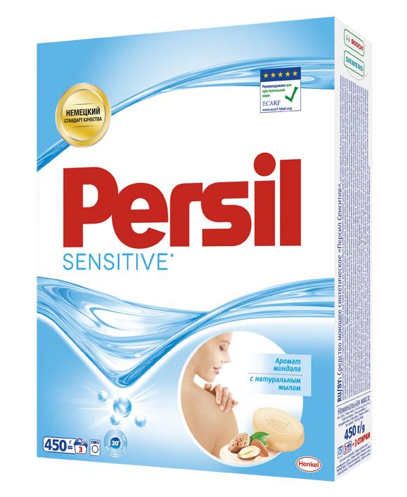 Порошок стиральный Persil Sensitive, 450 г935110Persil Sensitive* прекрасно подходит для стирки белья людей с чувствительной удаляет даже сложные пятна. Содержит натуральное мыло кожей. Persil Sensitive имеет нежный аромат миндаля. Дерматологически протестирован. Рекомендован Европейским центром исследований проблем аллергии (ECARF) для людей с чувствительной кожей.