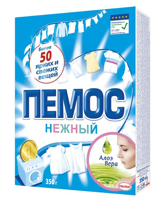 Порошок стиральный Пемос Нежный, алое вера, 350 г935227Пемос Нежный отлично отстирывает различные загрязнения, а входящая в его состав отдушка содержит экстракт Алоэ Вера. ПЕМОС Нежный подходит для людей с чувствительной кожей, что подтверждено Европейским центром исследований проблем аллергии (ECARF). С помощью всего лишь одной пачки Пемос Нежный 2 кг Вы сможете отстирать более 300 вещей. ПЕМОС Нежный - стирает много, стоит недорого. Результат - чистота и свежесть Ваших вещей в сочетании с заботой о нежной коже.