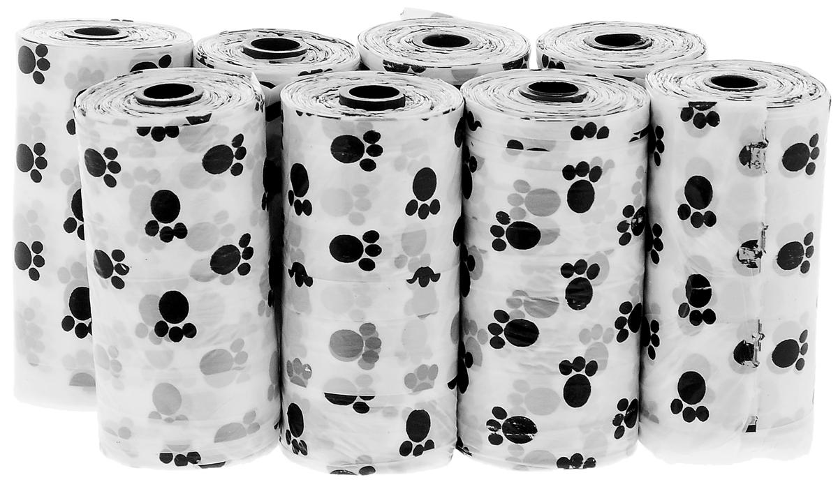 Пакеты гигиенические Pet Fun, 160 штукYE89605Гигиенические пакеты Pet Fun, выполненные из полиэтилена, предназначены для уборки за собакой во дворе, подъезде, на ринге во время соревнований или выставок и прочих общественных местах. Безусловно, специализированной продукцией пользоваться гораздо удобнее, нежели подручными средствами. Гигиенические пакеты для выгула собак упакованы в компактный рулон. В наборе 8 рулонов по 20 пакетов.