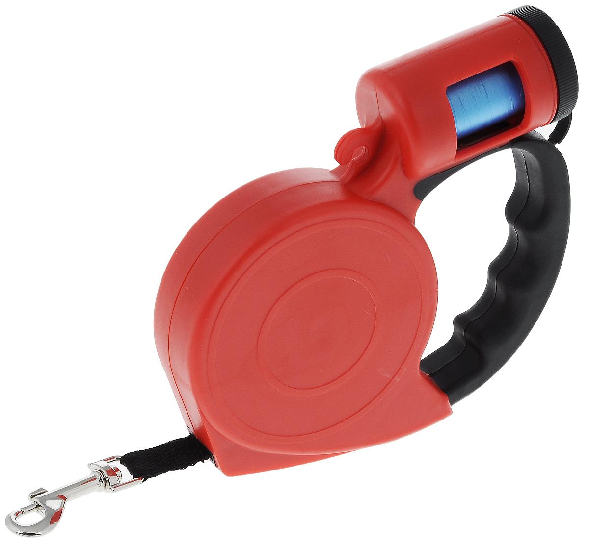 Поводок-рулетка Pet Fun, с диспенсером для гигиенических пакетов, 5 мYL24525Поводок-рулетка Pet Fun, выполненный из пластика, обеспечит безопасность вам и вашему любимцу. Благодаря специальному покрытию ручки и надежному замку вы сможете полностью контролировать свою собаку на прогулке.Теперь вам не придется за ней бегать. Вы можете просто ослабить фиксатор, и лента будет вытягиваться по всей длине поводка и автоматически приспосабливаться к движениям вашей собаки до того момента, пока вы не нажмете на кнопку блокировки. Изделие оснащено диспансером для гигиенических пакетов. В комплект входит 1 рулон с 20 гигиеническими пакетами, изготовленными из полиэтилена. Они предназначены для уборки за собакой в общественных местах (подъезд, двор, газон, общественный транспорт). Длина поводка: 5 м.