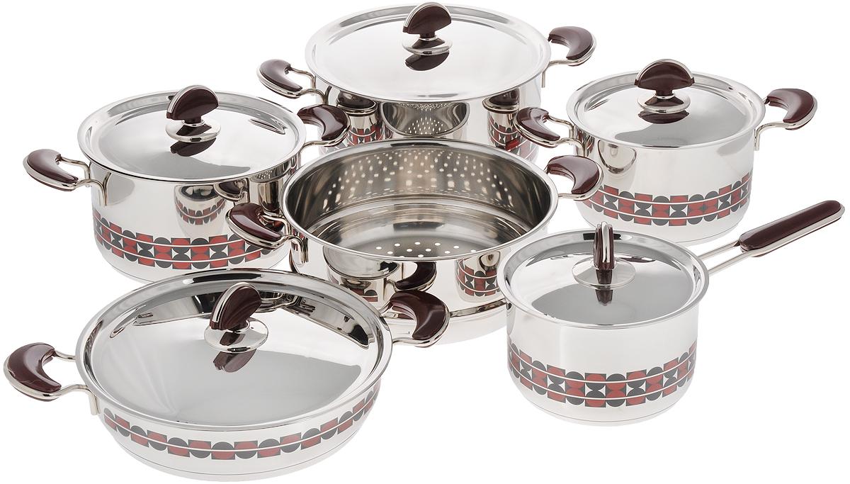 Набор посуды Kitchen-Art EX Pot, 11 предметовZH3000_новый дизайнНабор посуды Kitchen-Art EX Pot состоит из четырех кастрюль, ковша и дуршлага-вставки. Изделия выполнены из нержавеющей стали Премиум-ЛЮКС (Южная Корея). Материал обладает высокой стойкостью к коррозии и кислотам. Прочность, долговечность и надежность этого материала, а также первоклассная обработка обеспечивают практически неограниченный запас прочности. Зеркальная полировка придает посуде привлекательный внешний вид. Дно посуды с трехслойным напылением. Идеально ровная внутренняя поверхность облегчает процесс чистки. Посуда оснащена удобными металлическими ручками с пластиковыми вставками, которые не нагреваются в процессе приготовления пищи. Крышки изготовлены из нержавеющей стали с пластиковыми ручками. Крышки имеют отверстия для выпуска пара. Набор посуды Kitchen-Art EX Pot - это модный европейский дизайн, обтекаемые линии и формы. Все изделия имеют красивый геометрический рисунок. Каждое изделие упаковано в индивидуальную упаковку. ...