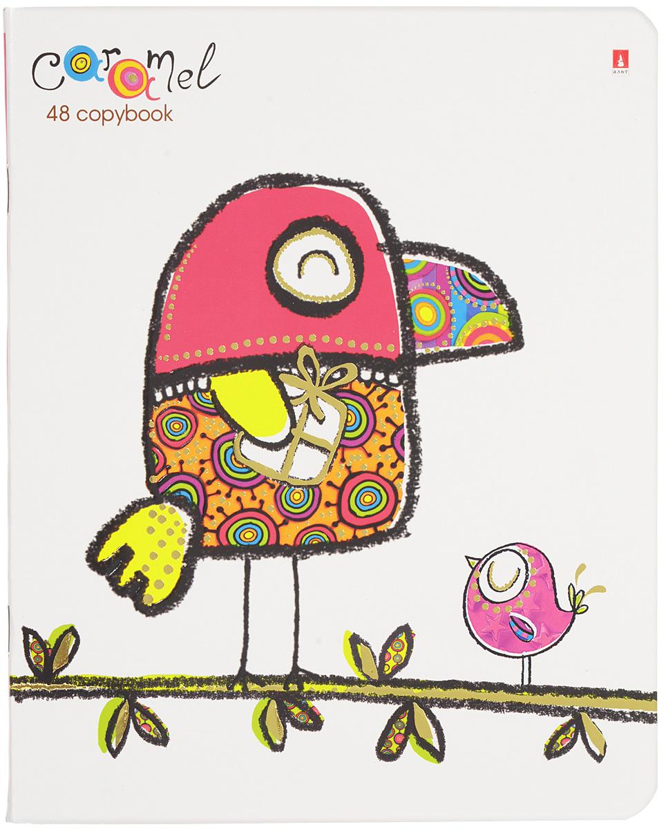 Альт Тетрадь Карамель 48 листов в клетку вид 37-48-011_Вид 3 (Птичка)Тетрадь Альт Карамель идеально подойдет для занятий школьнику или студенту. Мечтательному, романтическому настроению посвящена серия Карамель. В образах совят, собачки, кота, обезьянки переданы искренние и добрые эмоции: волнение при вручении презента, мечты о сокровенном. Обложки стилизованы под рисунки от руки, перекликаются с коллажной и мультипликационной техникой. Такой дизайн напоминает о беззаботной и счастливой поре детства. Двойная обложка выполнена из экологически чистого картона повышенной плотности. Благодаря скругленным краям исключаются заломы уголков. Форзац оформлен в едином стиле с обложкой и содержит поле для данных ученика. Внутренний блок тетради состоит из 48 листов белой бумаги, соединенных двумя металлическими скрепками. Четкая линовка совпадает с каждой стороны листа. Поля отмечены красным цветом.