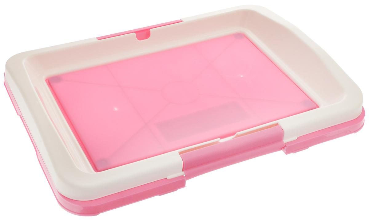 Туалет для собак V.I.Pet Японский стиль, цвет: розовый, белый, 48 х 35 х 5 смP102-03_розовыйТуалет для собак V.I.Pet Японский стиль, изготовленный из нетоксичного пластика, предназначен для собак и щенков. Гигиеническая пеленка помещается под рамку, которая удерживается боковыми фиксаторами. Туалет легко моется водой. Основание снабжено противоскользящими ножками. Уважаемые клиенты! Рекомендуется использовать с пеленкой V.I.Pet 40 х 60 см. Гигиеническая пеленка в комплект не входит.