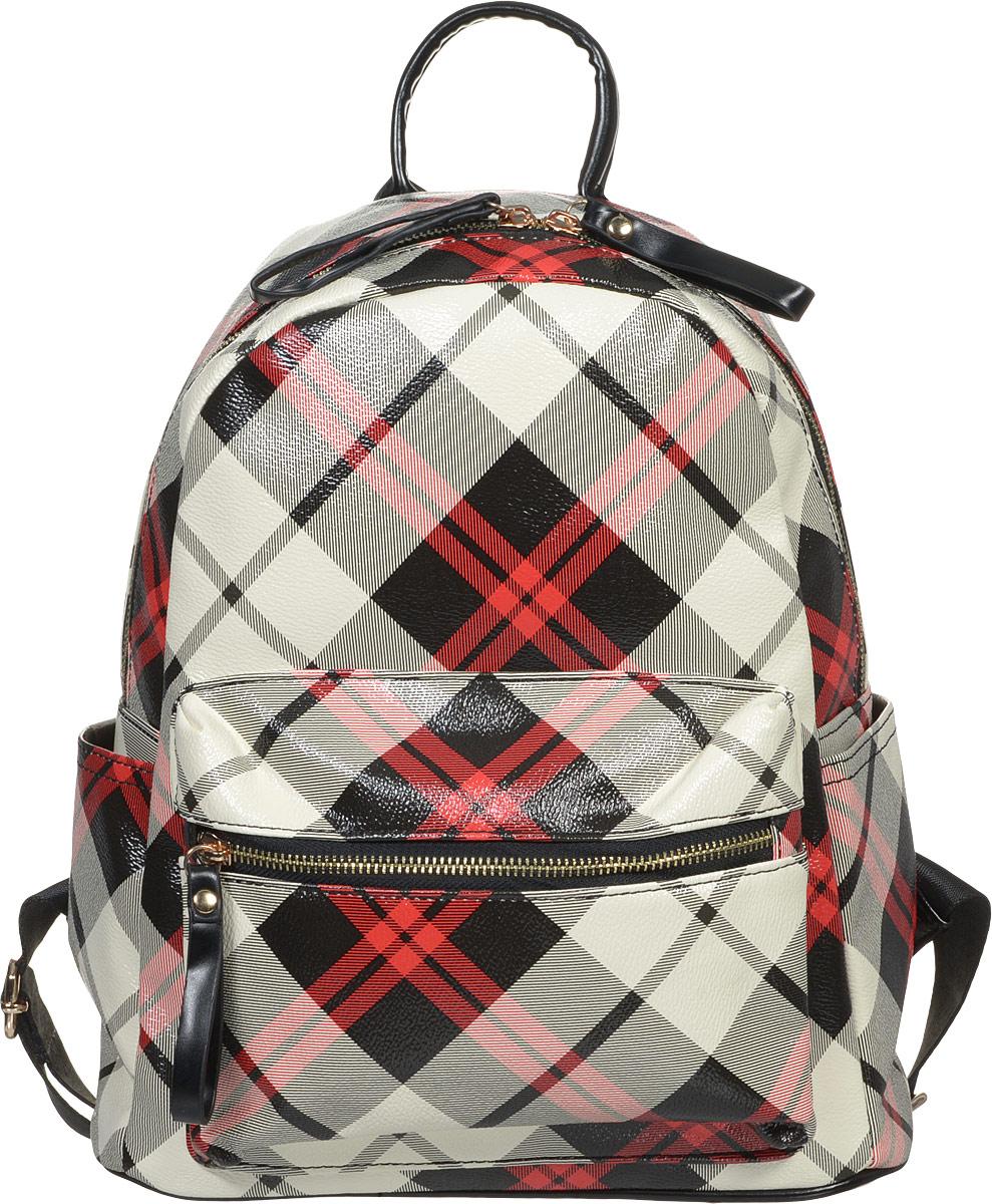 Рюкзак женский OrsOro, цвет: черный, молочный, красный. D-235/34D-235/34Стильный женский рюкзак OrsOro не оставит вас равнодушной благодаря своему дизайну. Он изготовлен из плотной экокожи и оформлен принтом в клетку. На лицевой стороне расположен удобный карман на молнии для мелочей. На тыльной стороне находится небольшой вшитый карман на молнии. Рюкзак имеет удобные боковые карманы для переноса бутылок с водой. Изделие закрывается на удобную молнию. Внутри расположено вместительное главное отделение, которое содержит два открытых накладных кармана для телефона и мелочей и один вшитый карман на молнии. Рюкзак оснащен удобными лямками, длину которых можно регулировать с помощью пряжек. Такой рюкзак подчеркнет ваш неповторимый образ и займет достойное место в вашем гардеробе.