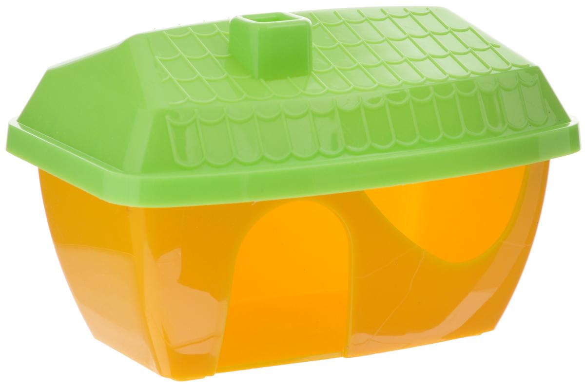 Домик для грызунов ЗооМарк, цвет: желтое основание, зеленая крыша, 16 х 11 х 10 см901_желтый, зеленыйДомик для грызунов ЗооМарк выполнен из цветного пластика, он полностью безопасен и безвреден для здоровья, не выделяет химических веществ, не впитывает запахи и отлично моется при помощи моющих средств. Каждый хомячок или мышка мечтают о собственной уютной спаленке. Вы можете предоставить своему любимцу такой полезный и практичный аксессуар. Для этого достаточно подобрать оригинальный качественный домик, который вписался бы в интерьер клетки. Домик обладает необычным дизайном с треугольной крышей яркой расцветки. Изделие оснащено удобным входом с миниатюрным козырьком. В своем закрытом уголке животное с удовольствием будет проводить время, сможет погрызть вкусняшку или просто отдохнуть.