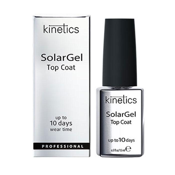 Kinetics Верхнее покрытие SolarGel Top Coat, 15 млKDTСБыстросохнущее верхнее покрытие с гелевым эффектом и супер глянцем. Стойкость - до 10 дней. Не требует специальной просушки в UV/LED лампе. Идеально самовыравнивается, создавая великолепный и стойкий зеркальный блеск. Рекомендуется использовать с профессиональными лаками SolarGel.