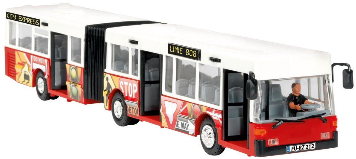 Dickie Toys Автобус-экспресс цвет белый красный3827000_белый, красный, 203827000Автобус-экспресс Dickie Toys привлечет внимание вашего ребенка и не позволит ему скучать. Игрушка является уменьшенной копией настоящего автобуса с гибкой гармошкой. Автобус оснащен открывающимися с помощью колесиков дверьми, сменным табло с названием остановок и прорезиненными колесами. Внутри салона расположены ряды пассажирских кресел и фигурка водителя. Остается только подобрать фигурки, подходящие по размеру, и можно отправляться в увлекательное путешествие! Ваш ребенок увлеченно будет играть с автобусом, воспроизводя различные истории из городской жизни. Порадуйте его таким замечательным подарком!
