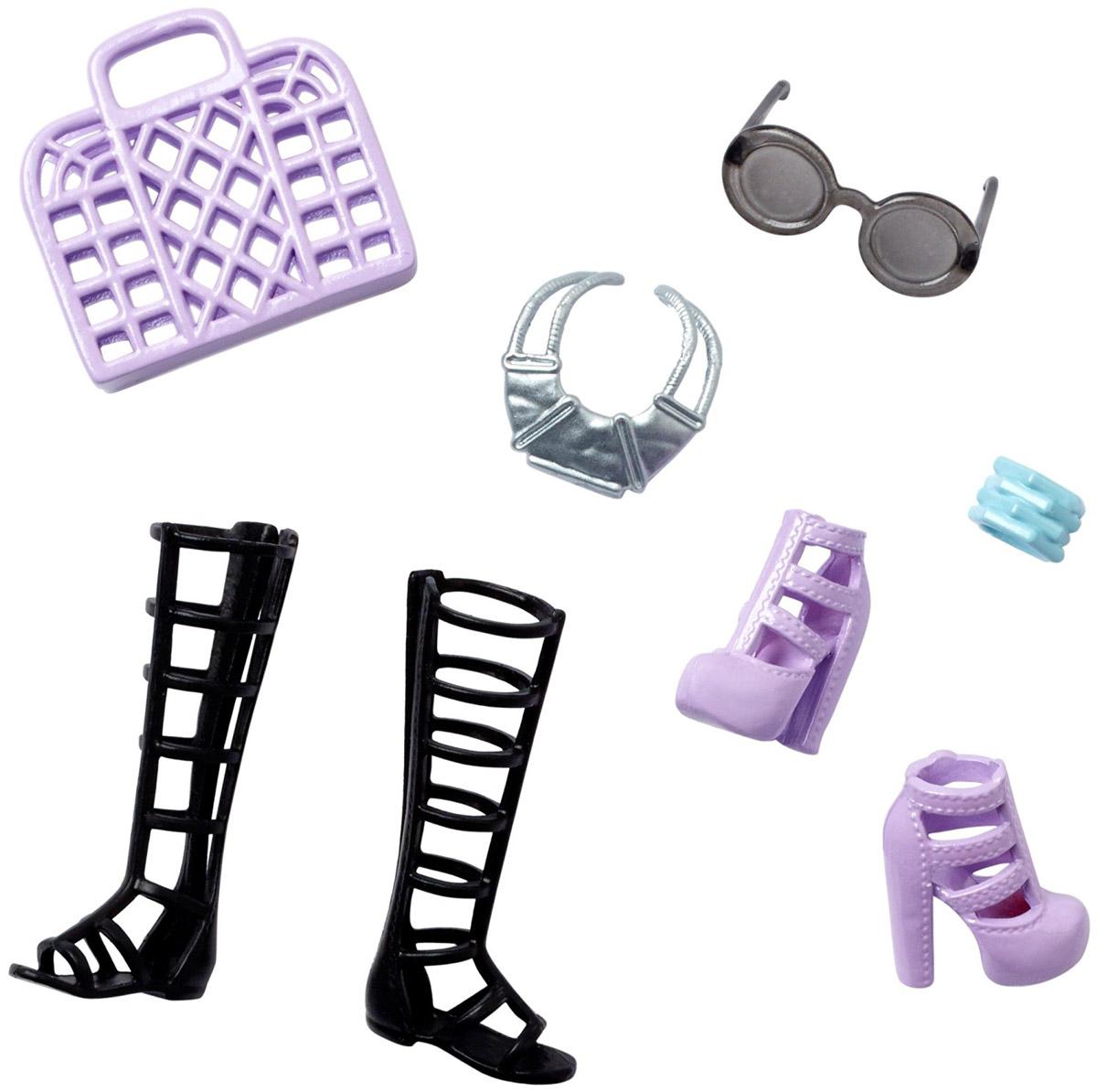 Barbie Набор обуви и аксессуаров для кукол цвет черный сиреневый